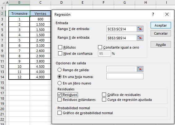 interfaz regresión análisis de datos